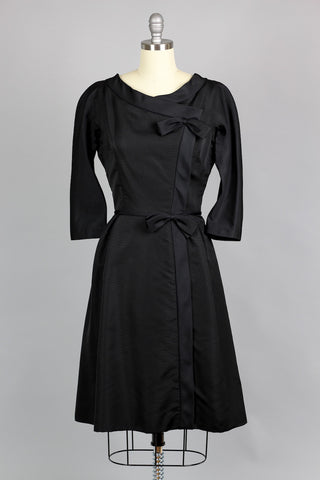 1960s Asymmetrical Little Black Silk Dress with Bows