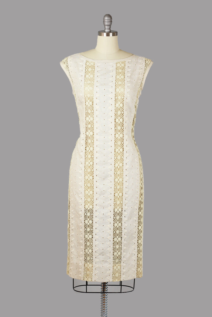 Classic 1960s Irish Linen and Crochet Lace Wiggle Dress