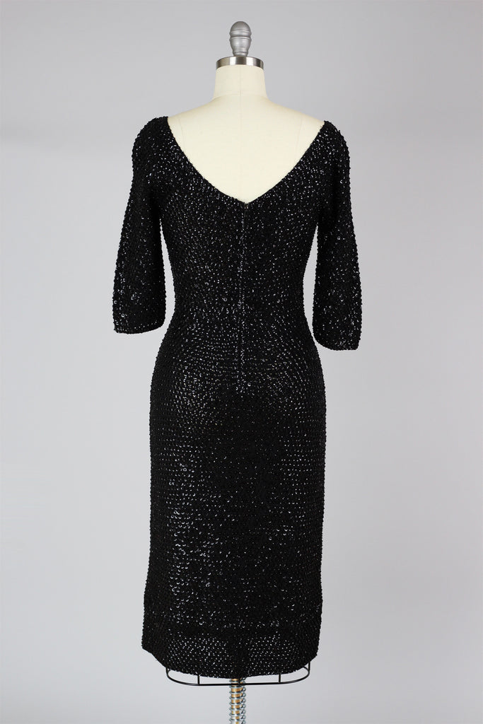 1960s Hand Done Sequin & Crochet Bombshell Cocktail Dress