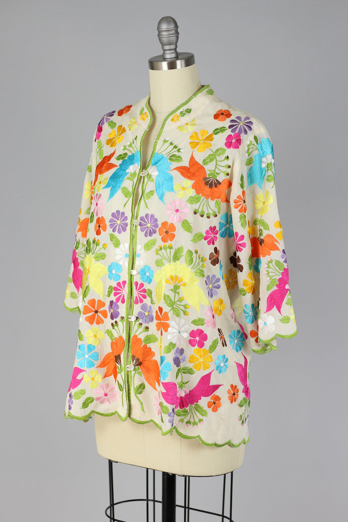 Bright Florals 1960s Embroidered Asian Style Blouse