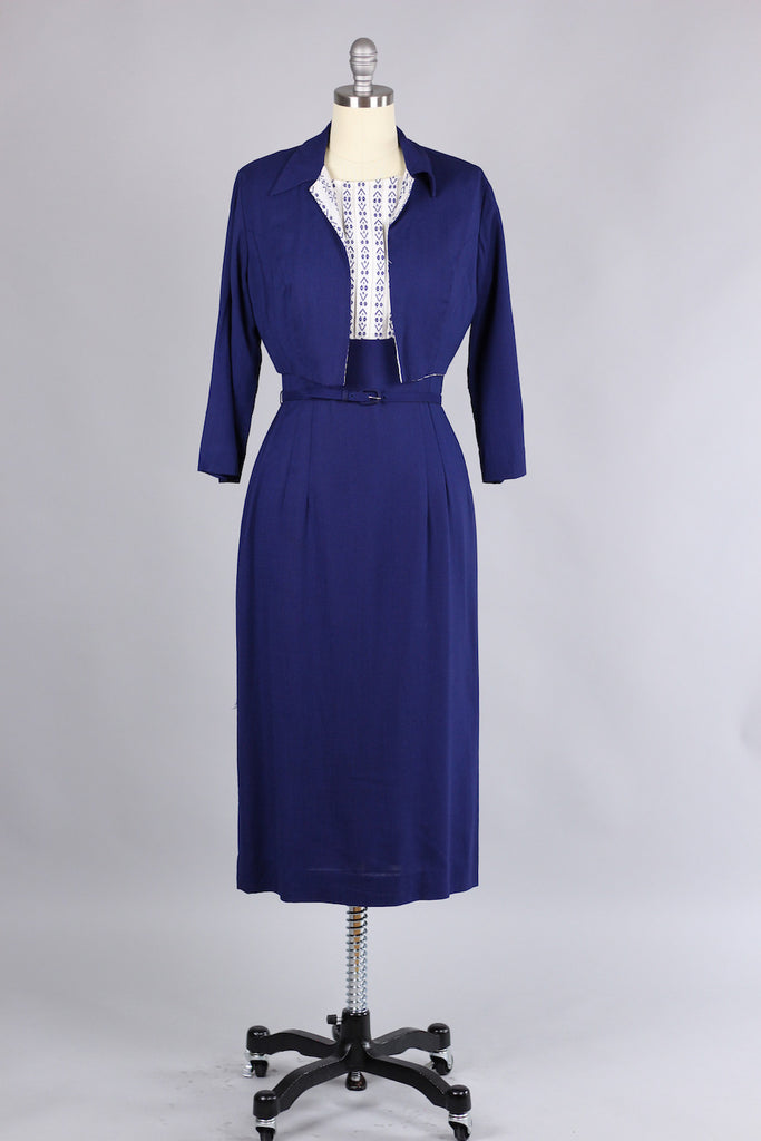Incredible 1960s Fitted Navy Gabardine Dress with Bolero