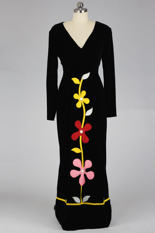 1960s Futura Couture Velvet Gown with Felt Flower Appliques