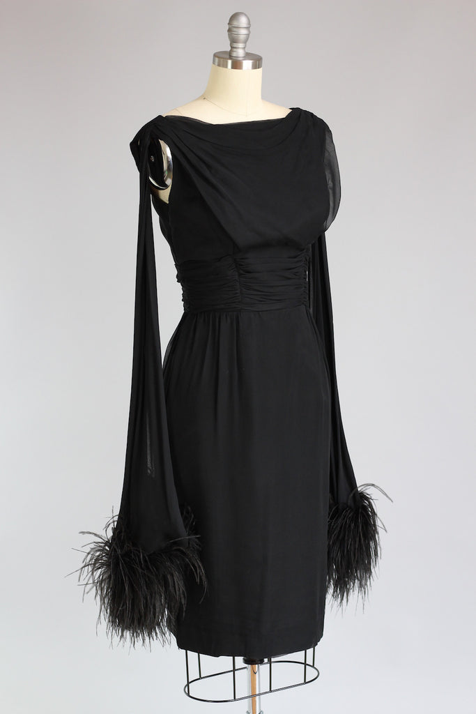 1960s Black Chiffon Dress With Ostrich Feathers The Vintage Net