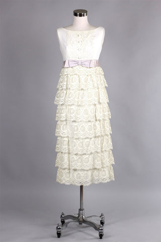 1960s Tiered Crochet Lace Wiggle Dress