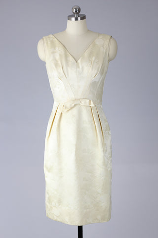 1960s Cream Brocade Wedding or Bridesmaid Dress