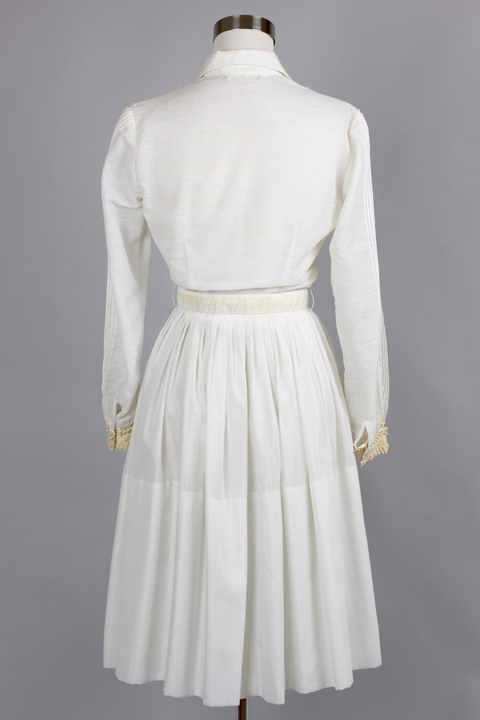 1950s L'Aiglon Cream Shirt Dress with Pintucks and Lace Detail