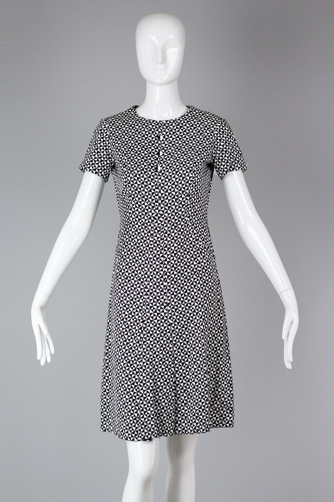 1960s Op Art Checkered Print Mod Shift Dress