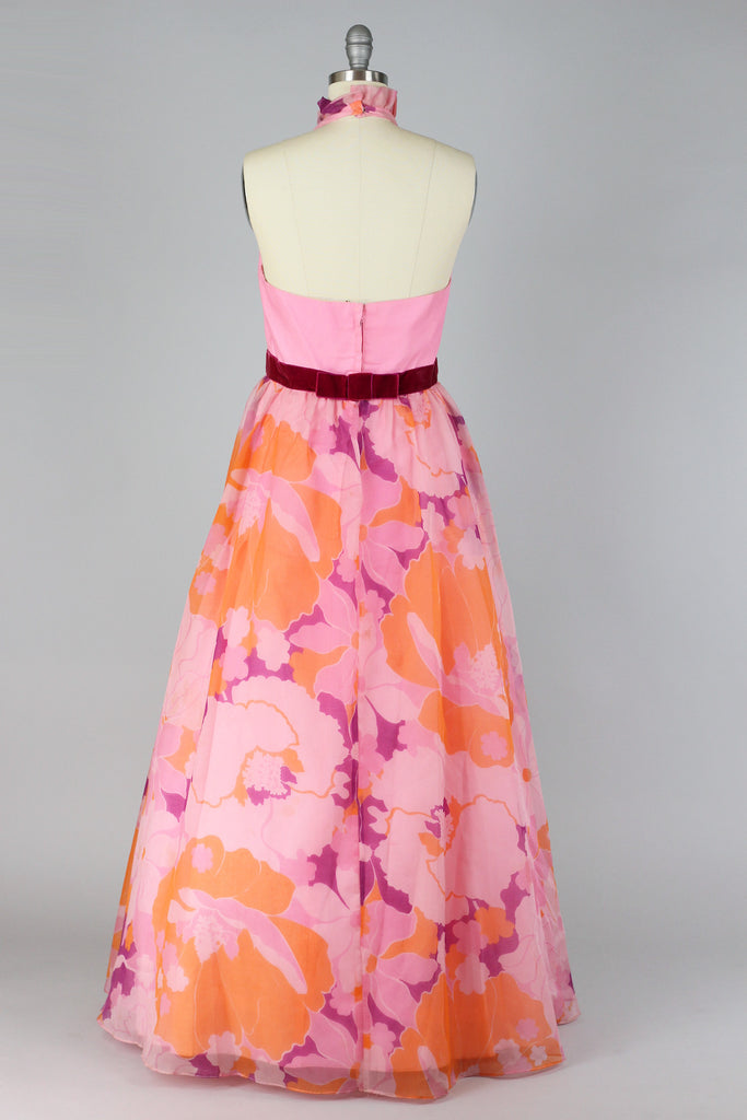 1960s Pink Floral Hawaiian Dress with Tuxedo Style Halter Top