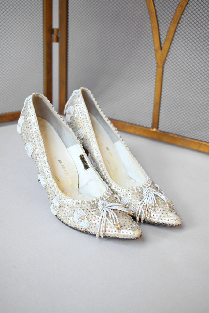 1960s Satin and Sequin Beaded High Heels