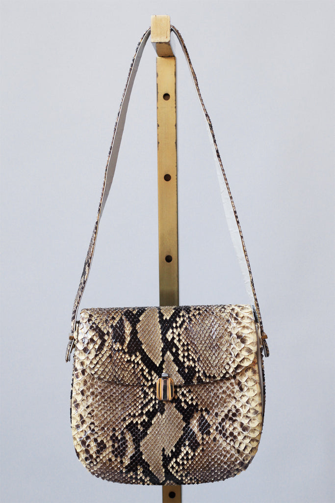 1970s Black and Cream Python Bag