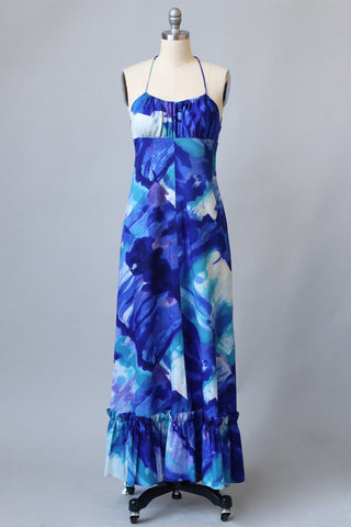 1970s Cobalt Blue Watercoor Halter Dress