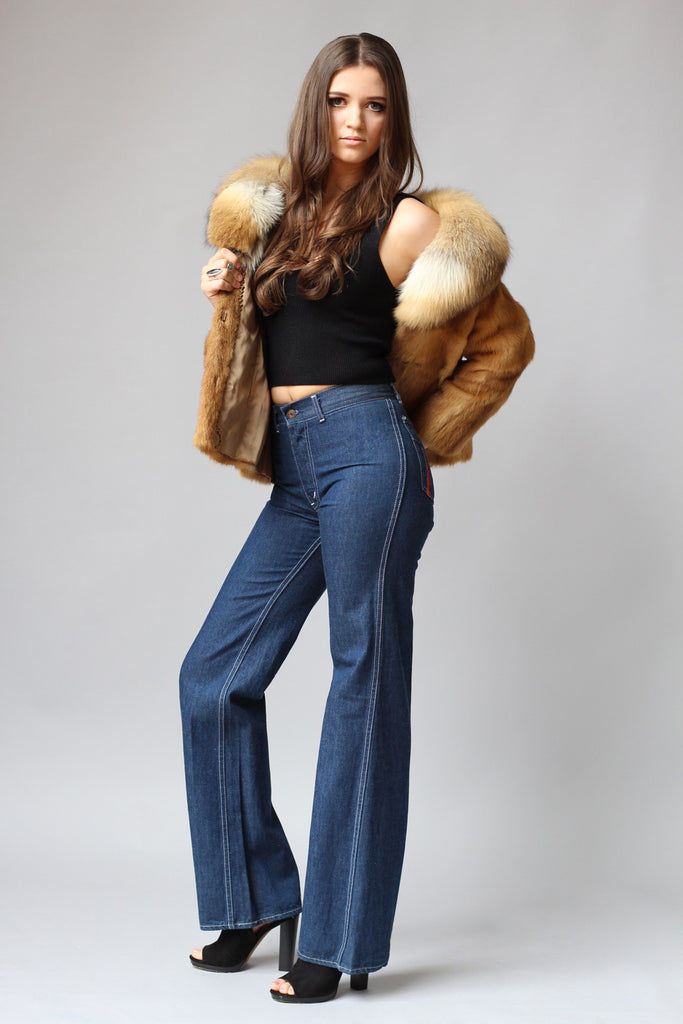1970s High Waisted Denim Flared Bellbottoms