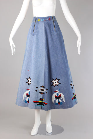 Rare 1970s Southwestern Native American Embroidered Denim Skirt