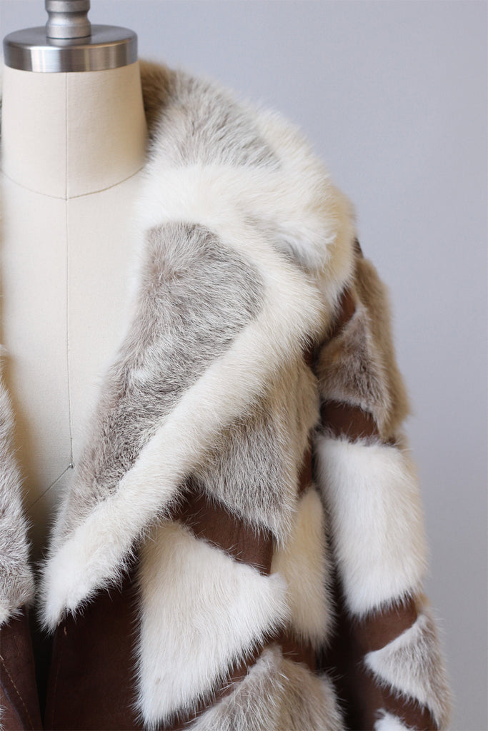 1970s Patchwork Rabbit Fur and Suede Coat