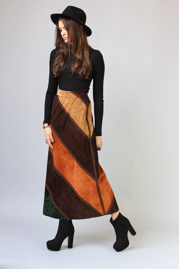 1970s Suede Leather Patchwork Maxi Skirt