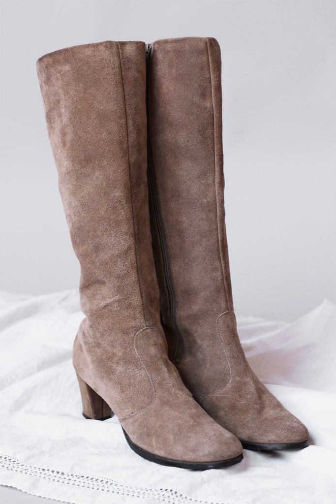 1970s Tall Suede Boots