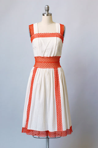 1970s Mexican Cotton Dress with Pin Tucks & Orange Lace
