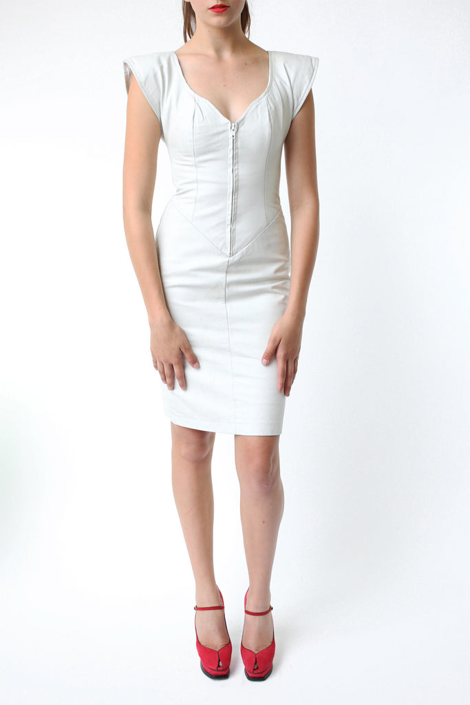 Deadstock 1980s J. Robert Leathers Fitted White Leather Zip Dress
