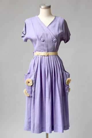 Gone Flower Pickin' Lavender 1930s Day Dress