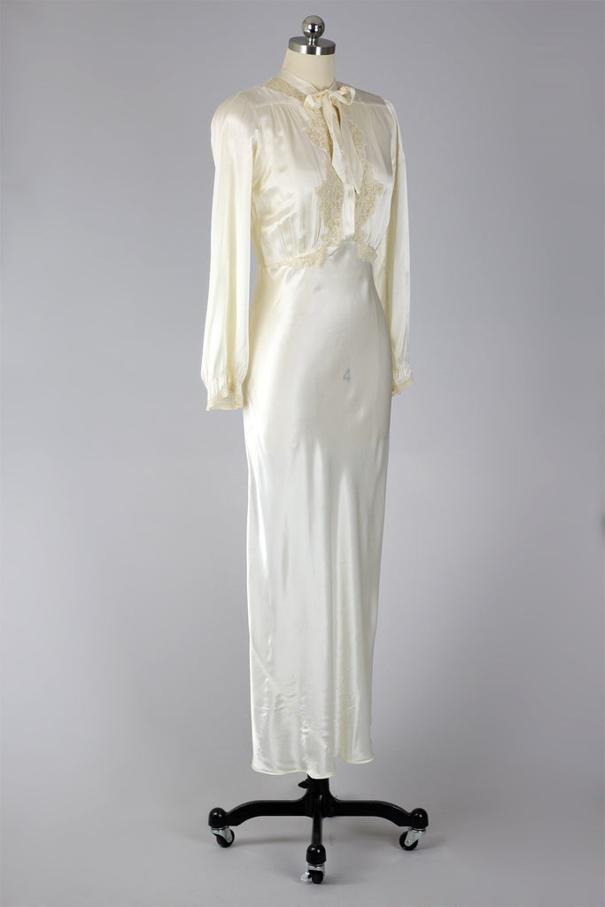 Duchess Charmeuse 1930s Long Sleeve Night Gown