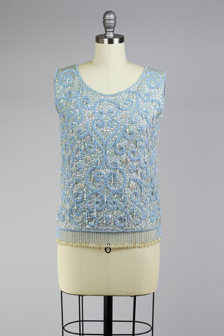 Blue Chandelieu 1950s Beaded Top