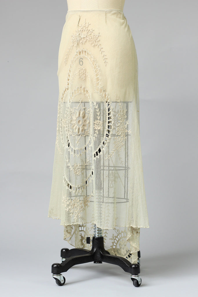 Rare Antique Edwardian Irish Tambour Lace Wedding Skirt