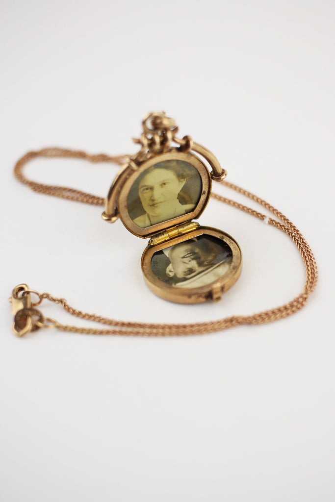 Lovers Necklace 10K Gold Antique Victorian Engraved Locket Necklace 14K chain