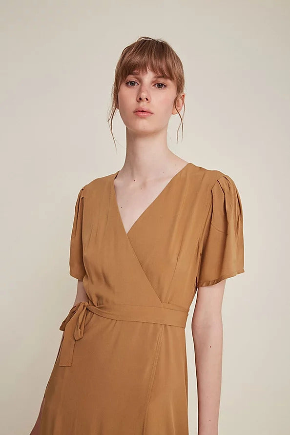 Silvia Wrap Dress - Latte