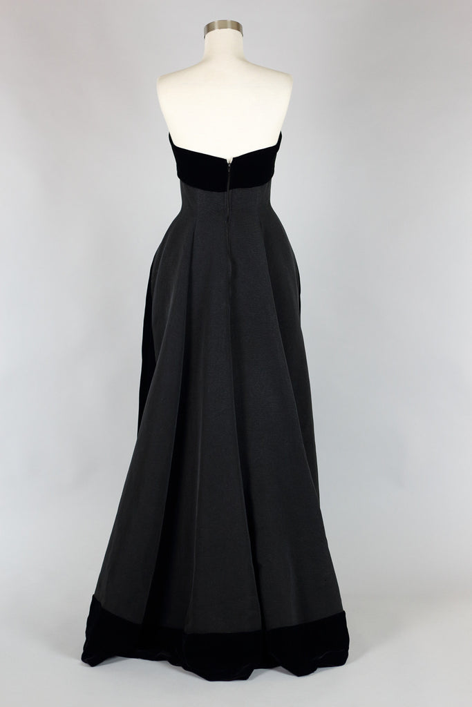 1950s Helena Barbieri Silk Faille and Velvet Couture Evening Gown