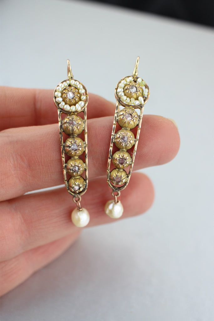 Exquisite Antique Victorian Rose Cut Diamond and Pearl Earrings