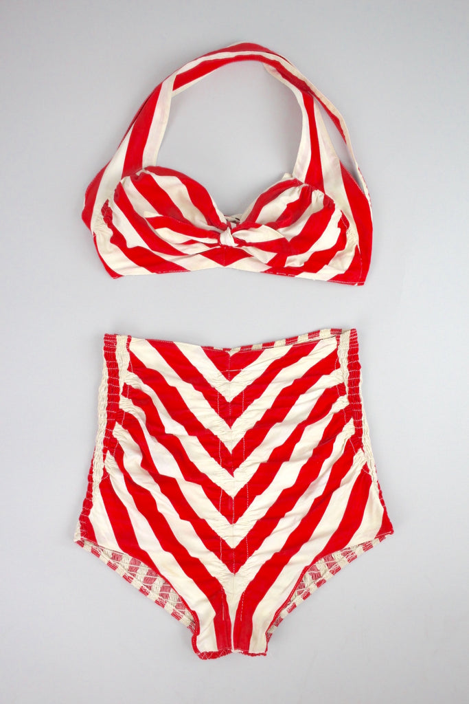 Rare 1940s Cole of California Red Striped Swimsuit