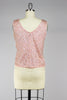 1960s Blush Pink Sequin Hand Beaded Top with Fringe