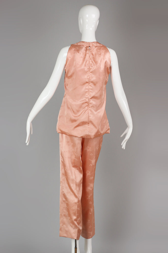 Vintage 1960s Anne Fogarty Chinese Satin Pajamas Set