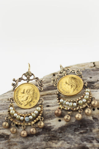 Exquisite Mexican Gold Coin Earrings, 1906 1920 Cinco Pesos Gold Coins