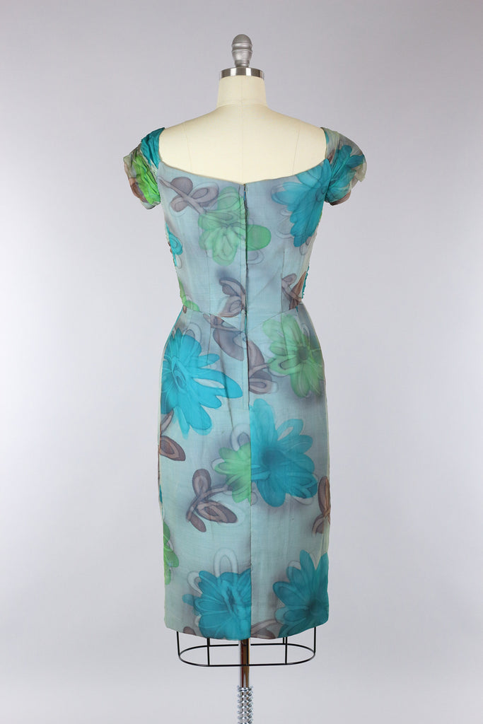 1960s Draped Silk Chiffon Floral Dress