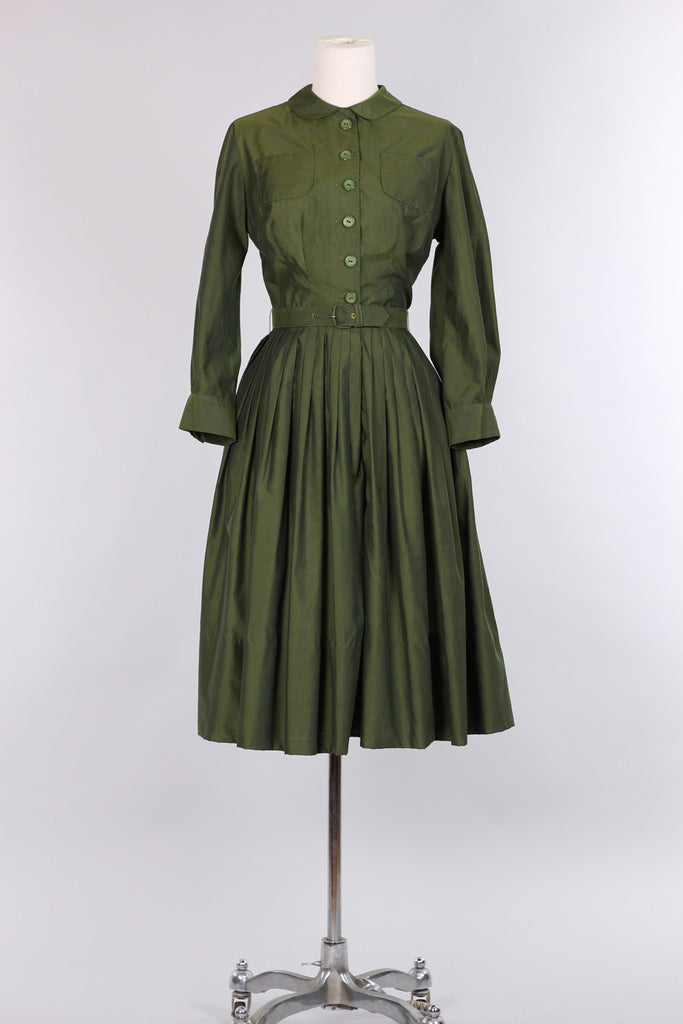 Olive Green 1960s Betty Shirt Dress