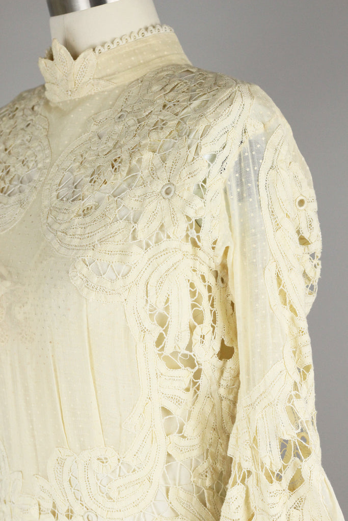 Incredible Antique Battenberg and Swiss Dot Lace Wedding Gown