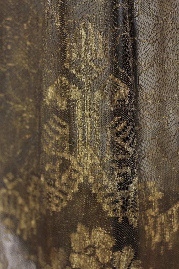 Rare 1920s Egyptian Revival Gold Metallic Lace and Lamé Dress