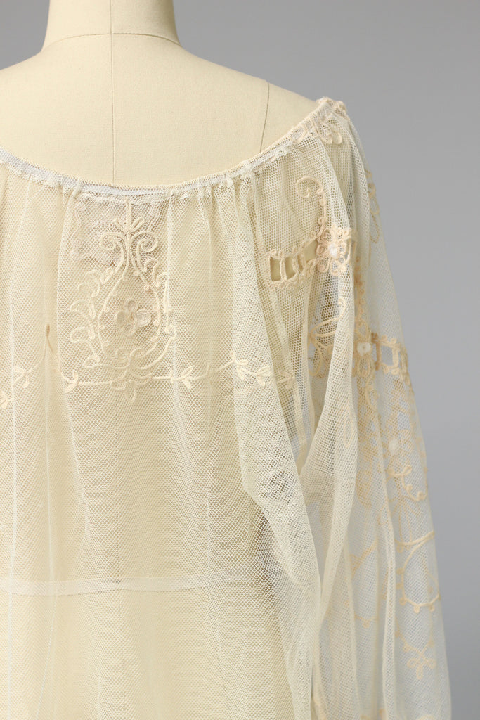 Antique Edwardian French Tambour Ecru Lace Peasant Blouse