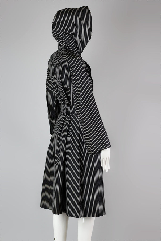 Incredible Vintage Pin-Stripe All Silk Trench Rain Coat