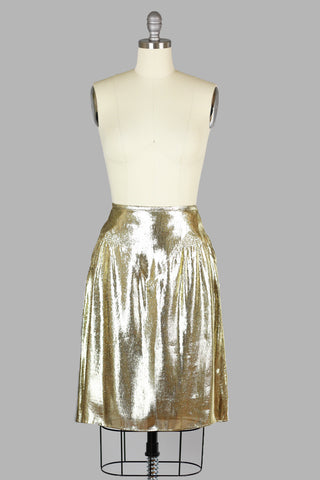 Rare Vintage Burberry Metallic Gold Silk Lame Skirt