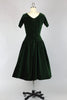 1950s Anne Fogarty Dress Green Velveteen