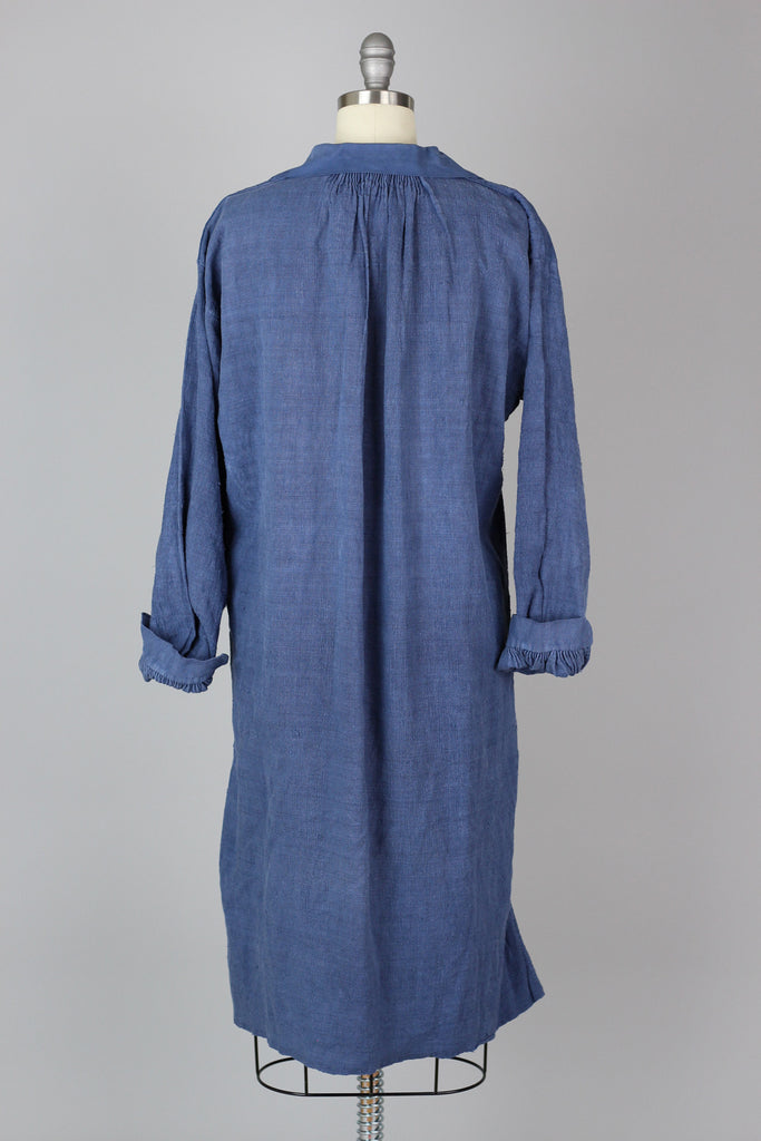 Antique 1800s Indigo Blue French Linen Work Smock Tunic Dress
