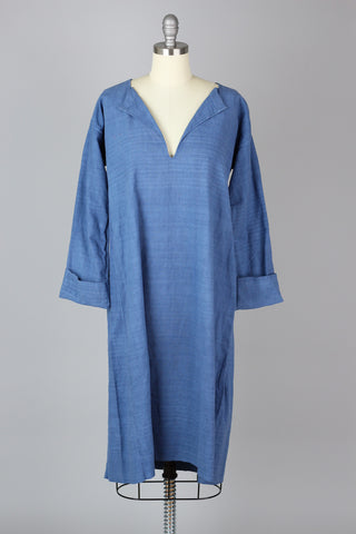 Antique 1800s French Linen Work Shirt Tunic Dress in Indigo Stripe