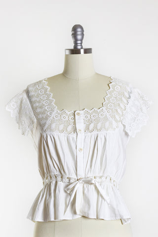 1900s Edwardian White Cotton Chemise Size M