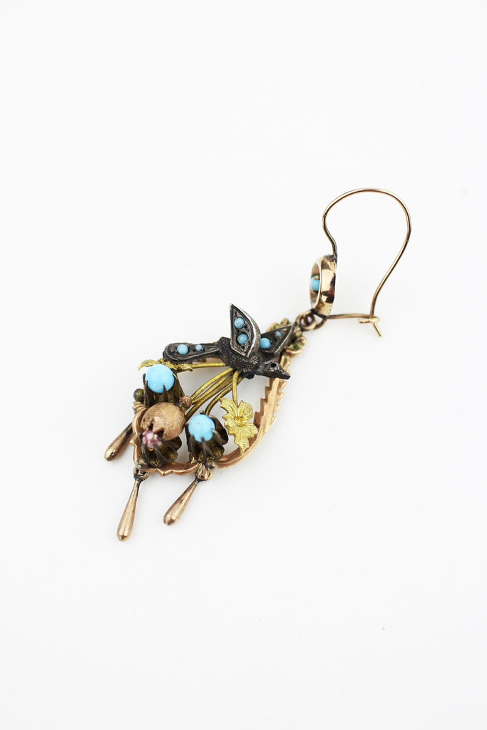 Rare Mexican Victorian Sparrow Earrings with Turquoise, Pearls, and Rose Gold