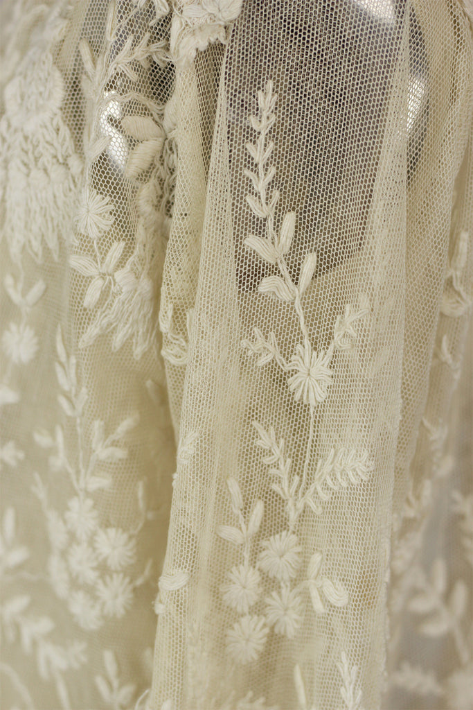 1920s Antique French Lace Jacket with Tambour Embroidery
