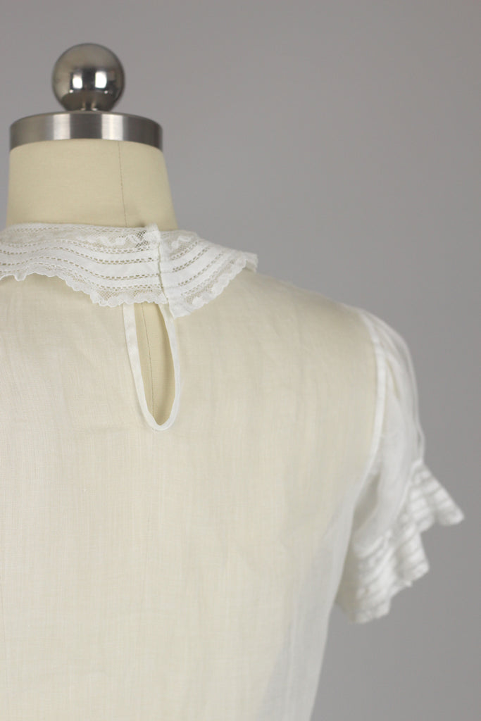 1950s Hand Stitched Cotton Blouse
