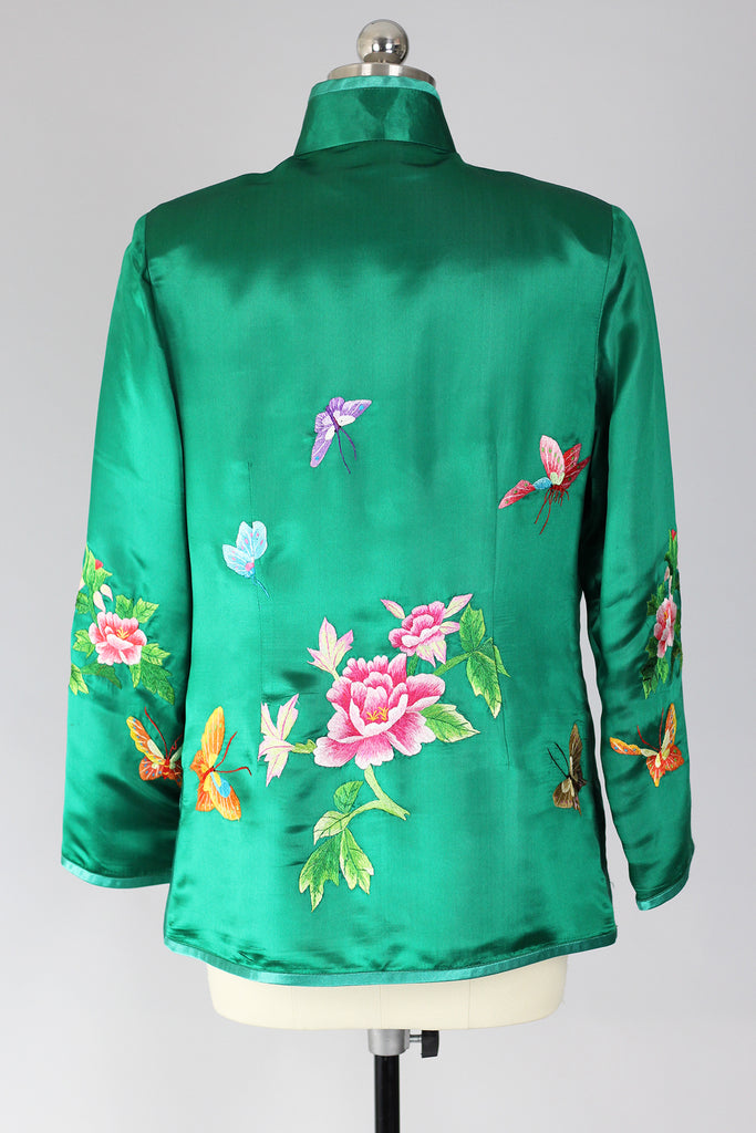 Dancing Butterflies Emerald Green Satin Chinese Embroidered Jacket