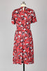 Clothespin 1940s Deadstock Fabric Red Rayon Print Dress